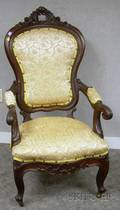 Victorian Upholstered Carved Walnut Parlor Armchair