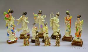 Eight Asian Carved and Stained Ivory Figures and Two Pairs of Figural Snuff Bottles