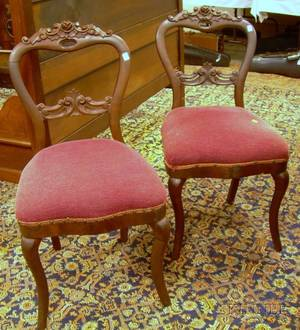 Pair of Victorian Upholstered Carved Walnut Parlor Side Chairs