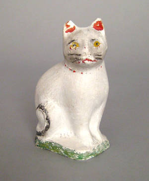 Chalk figure of a cat 19th c