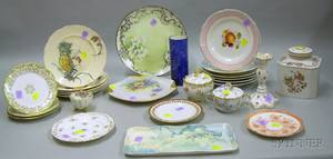 Group of Assorted Mostly Continental Decorated Ceramic Tableware and Items