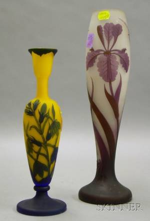 Two Modern Cameo Glass Vases