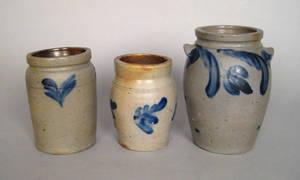 Three small stoneware crocks 19th c