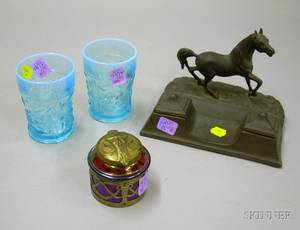 Cast Metal Horse Figural Double Inkwell a Pair of Opalescent Blue Pressed Glass Tumblers and an Art Nouveau M