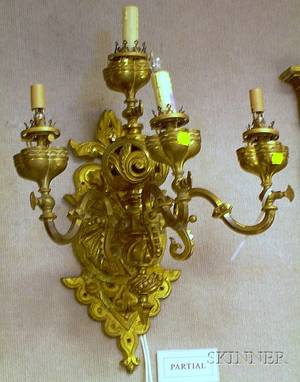 Victorian Cast Brass FourLight Wall Sconce and a Victorianstyle Cast Brass ThreeLight Wall Sconce