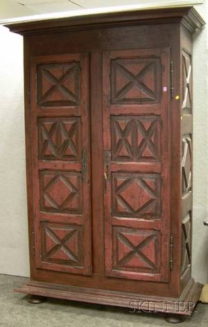Painted Provincial Wooden TwoDoor Armoire