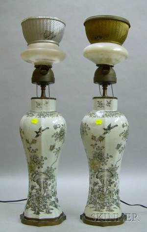 Pair of Chinese Porcelain Vase Lamp Bases