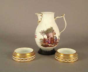 Rare pair of Meissen porcelain wine coasters 19th c