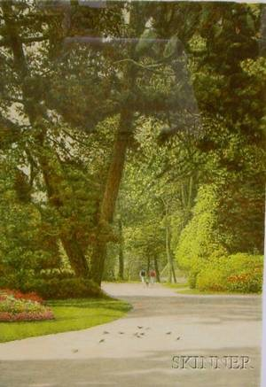 Framed Lithograph of a Garden Scene Entitled Trio 1987