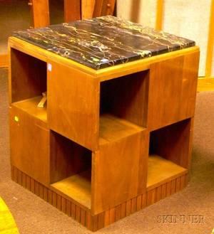 French Moderne Marbletop Fruitwood Pedestalform Cabinet