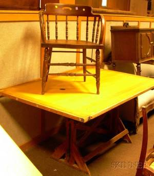 Maple and Oak Adjustable Drafting Table with a Windsor Oak Firehouse Armchair
