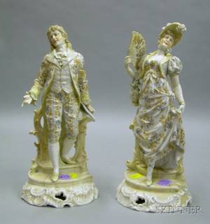 Pair of Continental Porcelain Figures of a Lady and a Gentleman