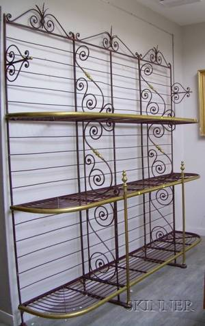 Large French Iron and Brass Bakers Bread Rack