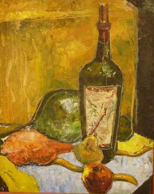 Framed Oil on Board Still Life with Bottles and Pears
