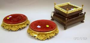 Asian Ivorymounted Hardwood Stand and a Pair of Continental Carved Giltwood Stands