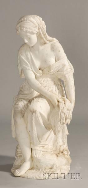 Italian Carrara Marble Garden Statue of a Maiden on Pedestal