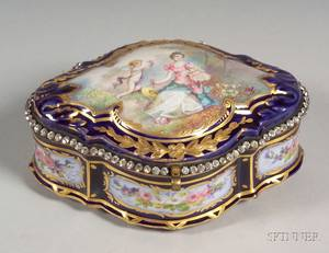 Sevres Porcelain Enamel Decorated Cobalt Blue Dresser Box
