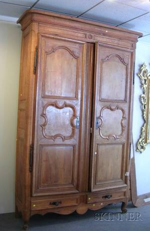 Large French Provincial Louis XVstyle Fruitwood Armoire