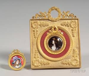 Two Framed French Enamel Portrait Miniatures