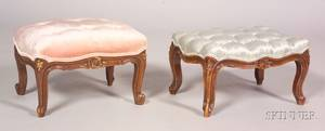 Near Pair of Rococo Revival Carved Walnut and Parcel gilt Stools