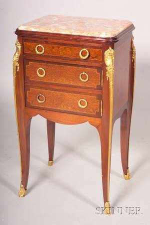 Louis XVXVI Style Mahogany Amboyna and Bronzemounted Marbletop Side Table
