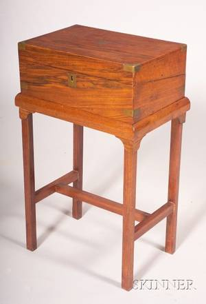 Brassbound Rosewood and Mahogany Lap Desk on Stand