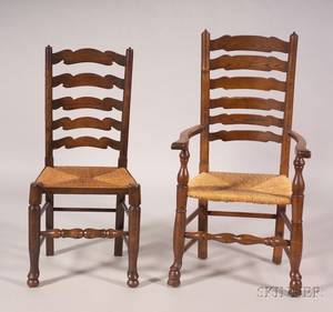 Set of Eight English North CountryYorkshire Ash and Rush Seat Ladderback Chairs