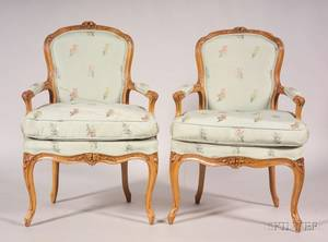 Pair of Louis XV Signed Beechwood Fauteuil en Cabriolet