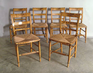 Set of six painted rush seat chairs
