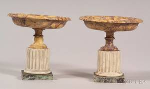 Two Italian Grand Tour Marble and Alabaster Tazzae
