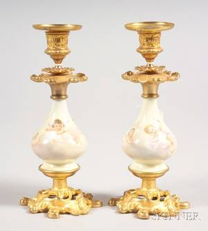 Pair of French Porcelain and Ormolu Candlesticks