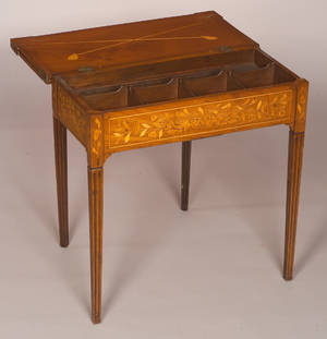 Dutch Neoclassical Fruitwood Marquetry Inlaid Mahogany Game Table