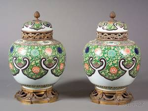 Pair of Bronzemounted French Porcelain Potpourri Urns