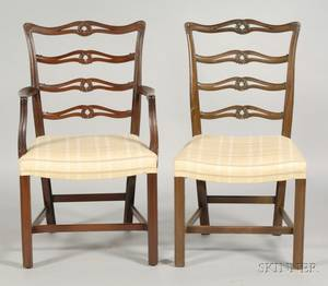 Set of Eight George III Style Ribbandback Dining Chairs