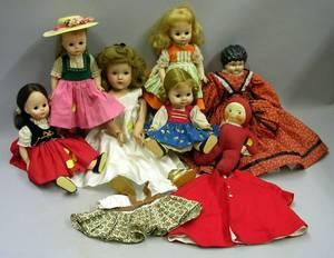 Seven Assorted Dolls