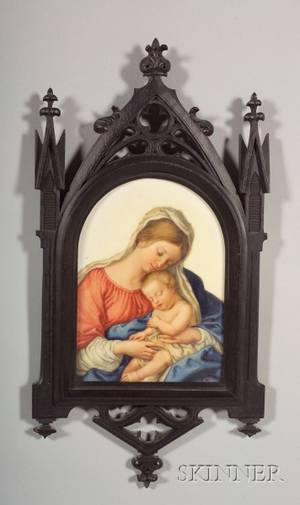 German Painted Porcelain Plaque of Madonna and Child