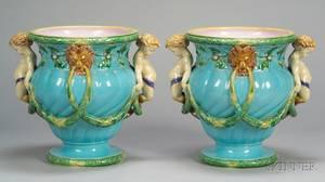 Pair of Minton Majolica Figural Garden Pots