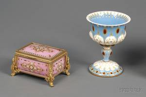 Two French Enameled Copper and Brass Table Articles