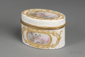 French Enameled Copper Oval Box