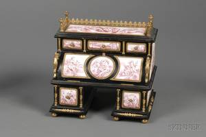 French Enameled Copper and Ebonized Miniature Desk