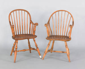 Pair of childs bow back windsor armchairs