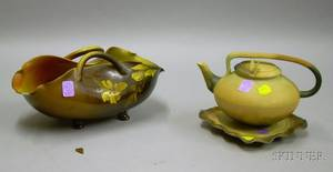 Rookwood Pottery Standard Glaze Basket and an Art Pottery Teapot and Trivet
