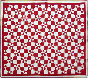 Pennsylvania red and white pieced quilt ca 1920