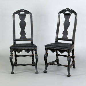 Pair of Queen Anne beech side chairs ca 1740