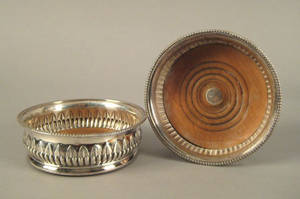 Pair of Sheffield silver wine coasters ca 18091810