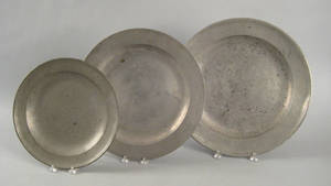 Three English pewter chargers 18th c