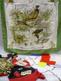 Lot of Two Chanel a Gucci a Hattie Carnegie and Unmarked Designer Silk Scarves