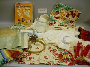 Large Box of Assorted Household Linens and Embroidery Notions