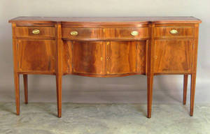 Federal style inlaid mahogany dining room suite to include a table