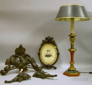 Victorian Oval Carved Walnut Frame Three Ornamental Carvings and a Polychrome Wooden Candlestick Table Lamp
